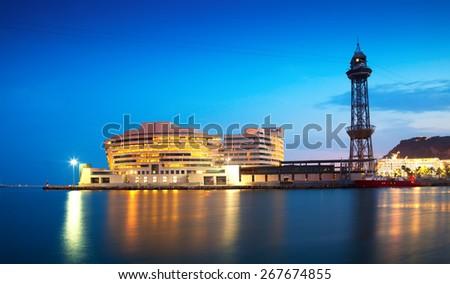 Port Vell in sundown. Barcelona, Spain - stock photo
