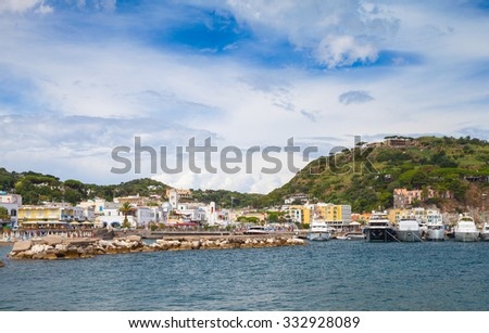 Port view of Lacco Ameno. Ischia island, Mediterranean Sea coast, Bay of Naples, Italy