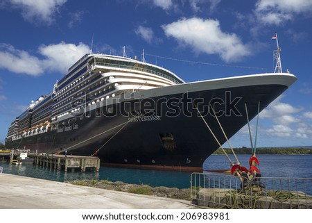 Port Vila, Vanuatu-January 10th 2014: The cruise ship Oosterdam moored at Port Vila, The ship is operated by the Holland America Line. - stock photo