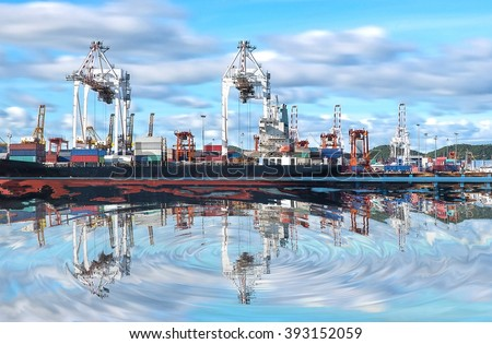 Port warehouse with containers and industrial cargo - stock photo