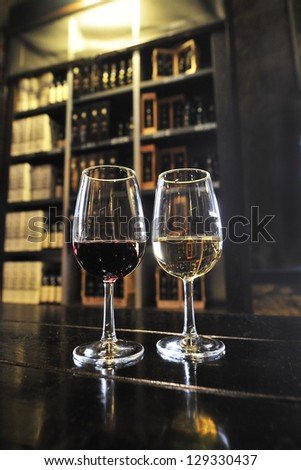 port wines, white and red wine in the famous portuguese wineries