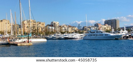 port with yachts in barcelona, spain, catalonia