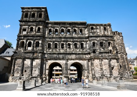 Porta Nigra - an ancient protective construction of Roman empire in territory of the city of Trier, Germany