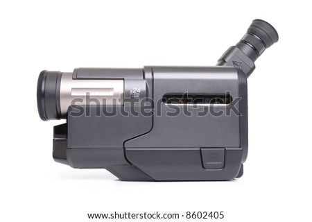 Portable analogue Hi-8 camcorder over white background - stock photo