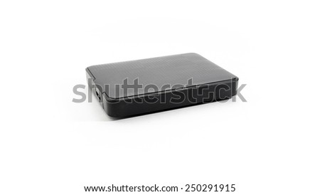 Portable and mobile external hard drive or hard disk HDD isolated on white background - stock photo