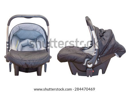 Portable baby carriage isolated on white background - stock photo