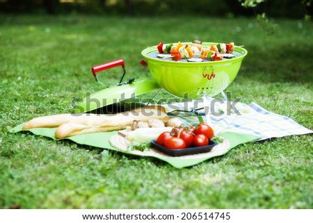 portable barbecue standing on a green lawn with copyspace during a picnic or summer camping trip  - stock photo