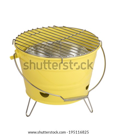 Portable bbq, isolated on white - stock photo