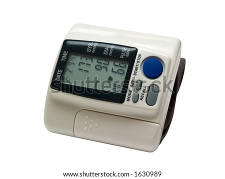 Portable blood pressure monitor, includes clipping path - stock photo