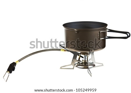 Portable camping stove isolated on a white background.