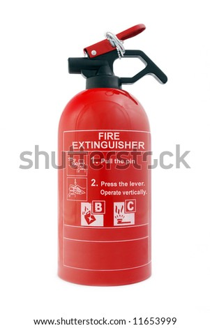 Portable car dry-powder fire extinguisher isolated on white background - stock photo