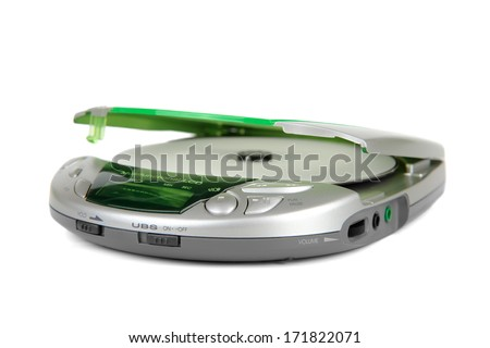 Portable CD player isolated on white. - stock photo