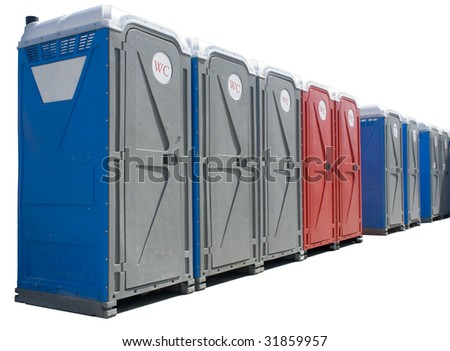 Portable chemical toilets in a row - stock photo