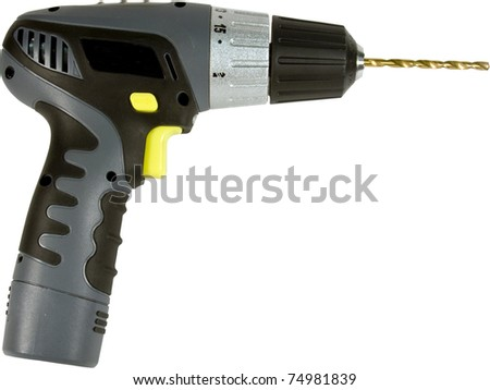 portable cordless drill isolated over a white background cropped close with a clipping path at original size - stock photo