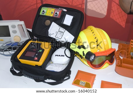 portable defibrillator for hearth emergencies - stock photo