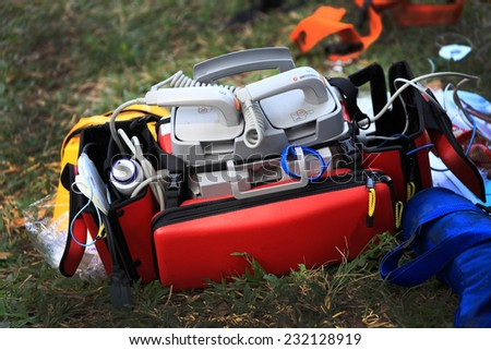 Portable defibrillator for hearth emergencies . - stock photo