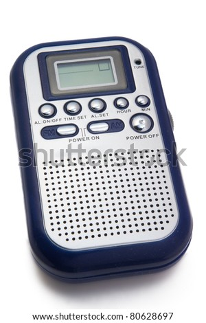 portable digital radio on white background