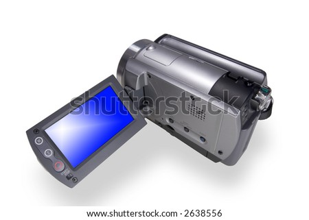 Portable digital video camera isolated over white - stock photo