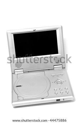 portable DVD-player isolated on a white background - stock photo