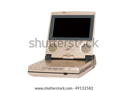 Portable DVD player isolated on the white background - stock photo