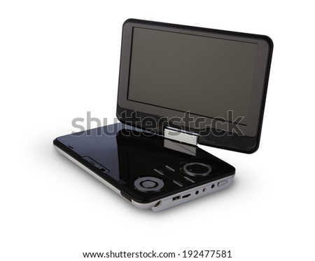 Portable DVD player with clipping path - stock photo