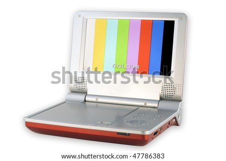 Portable DVD Player with low quality pixels screen play color test table.  Isolated on white. With clipping patch. Mass production. - stock photo