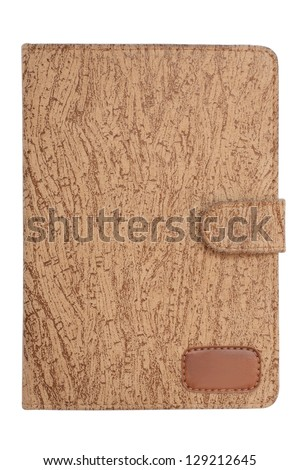 Portable e-book reader brown leather cover with magnetic binder isolated on white background with clipping path - stock photo