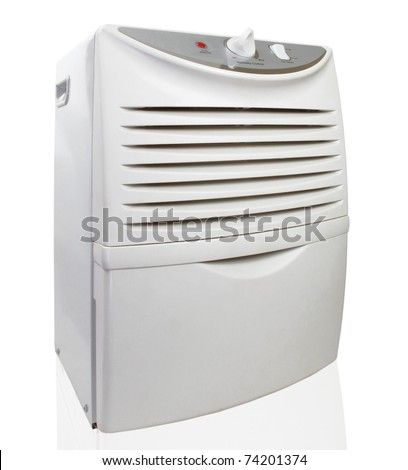 Portable electric dehumidifier on white - stock photo
