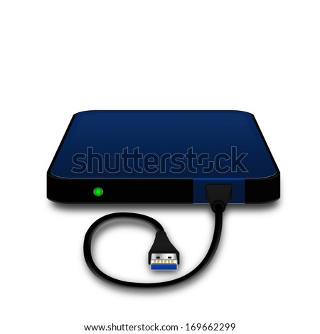 Portable external hard disk drive with USB cable  ,illustration - stock photo