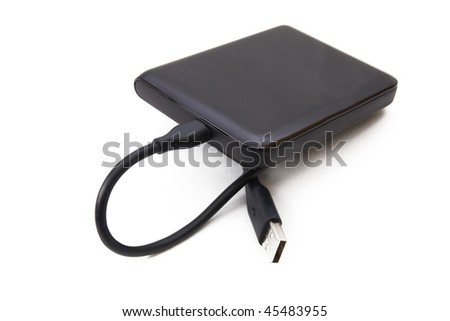 Portable external HDD hard disk drive with USB cable on white background - stock photo