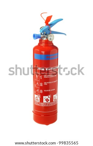Portable Fire Extinguisher on White Background - stock photo