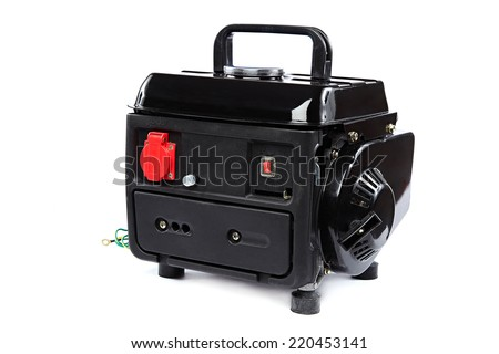 Portable fuel electric generator isolated on white background.  - stock photo