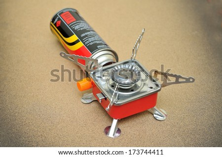 Portable gas stove for camping or hiking - stock photo