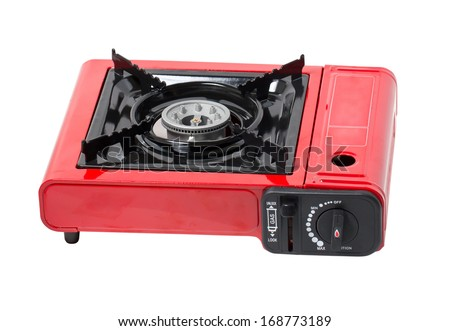 Portable Gas Stove Isolated on White. - stock photo