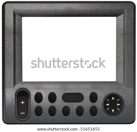 Portable GPS satellite navigation system isolated with clipping path inside and outside - stock photo