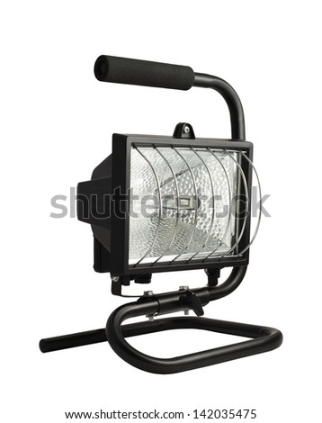 Portable halogen construction lamp with a handle isolated over white background