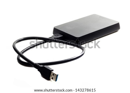 Portable hard disk isolated on a white background - stock photo