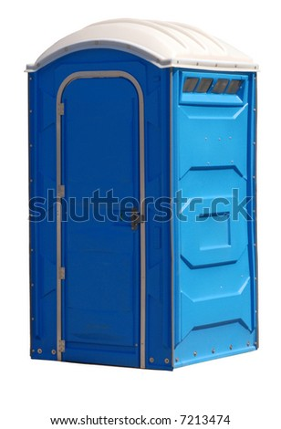 portable johnny on the spot or outhouse isolated on white - stock photo