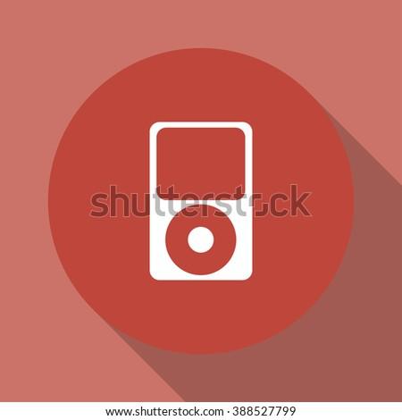 Portable media player icon. Flat design style.  - stock photo