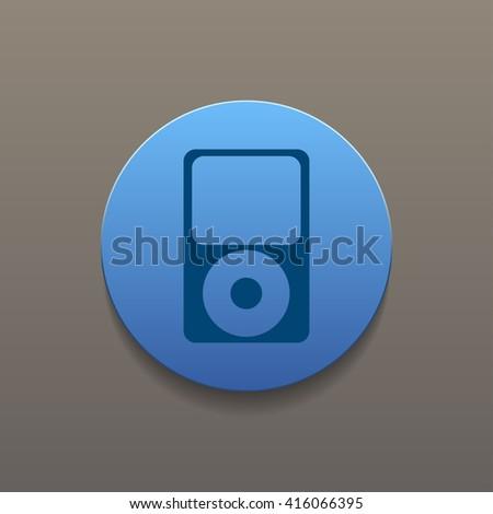 Portable media player icon. Flat design style - stock photo