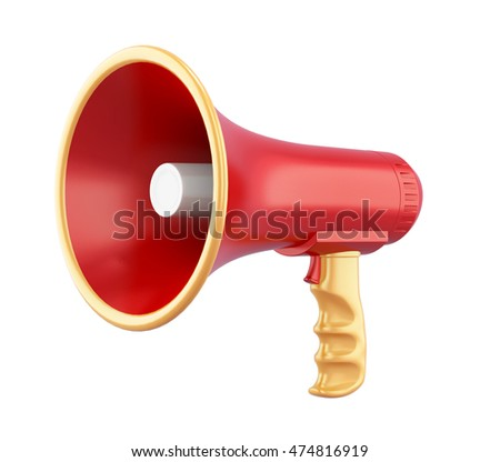 Portable megaphone isolated on white background. 3d rendering.