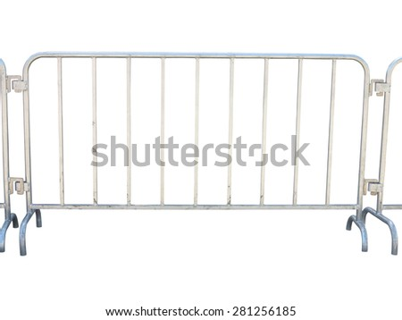 Portable metallic fence isolated over white background - stock photo