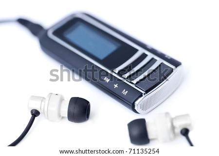 Portable MP3 player with headphones - stock photo