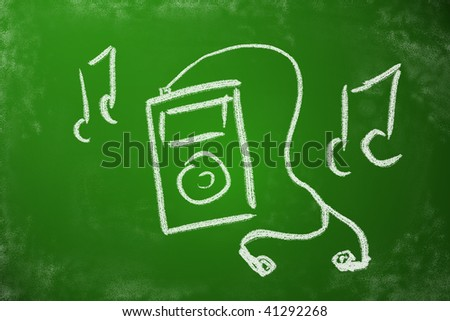 Portable music player chalk drawing. MP3 player concept. - stock photo