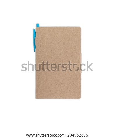 portable notebook with pencil isolated in white background with clipping path