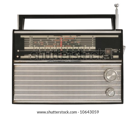 Portable old soviet radio, isolated on white background. - stock photo