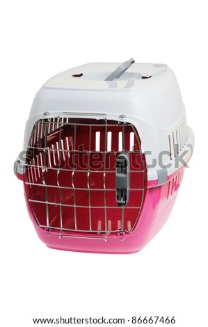 Portable pet carrier. Isolated on white background. - stock photo