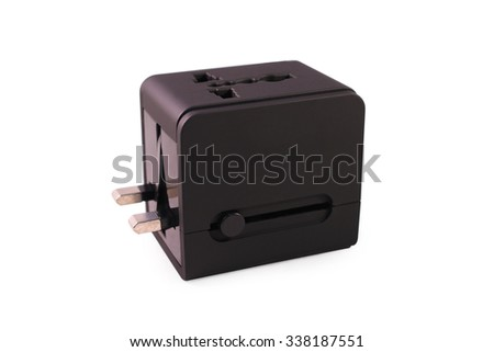 Portable plug. Portable electric plug isolated. Electric plug and usb converter. Electric adapter. Power plug. Electric connector. Portable power charger. Black portable plug. Mini plug. Small plug. - stock photo