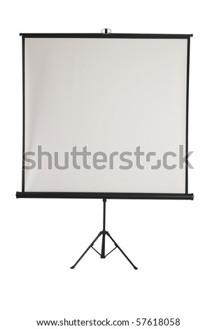 Portable projection screen with tripod isolated with work path for easy background removal.
