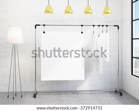 portable rack for paper in corner of room, paper sheets clipped to it, window with a city view to the right, standard lamp to the left, four yellow lamps above. Concept of demonstration. 3D rendering - stock photo